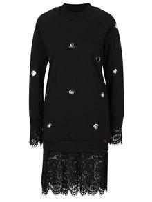Pulover rochie negru cu detalii metalice si dantela  Fornarina Simona