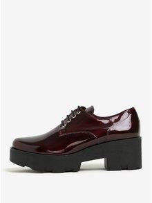Pantofi bordo cu platforma luciosi din piele OJJU