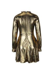 Šaty s volánmi a dlhým rukávom v zlatej farbe Fornarina Melissa Easy