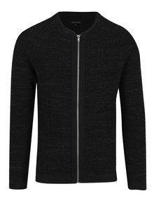 Černý pánský žebrovaný cardigan na zip Casual Friday by Blend