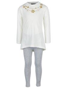 Sivo-krémová dievčenská súprava trička s legínami Mix´n Match