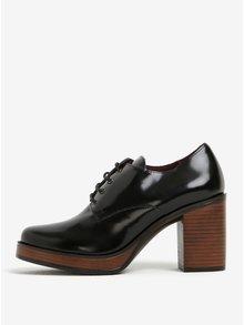 Pantofi cu toc negri din piele OJJU