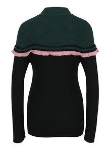 Čierno–zelený tenký sveter s rolákom a volánom Fornarina Rosy
