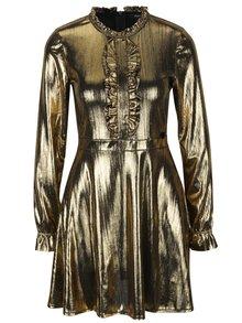 Šaty s volány a dlouhým rukávem ve zlaté barvě Fornarina Melissa Easy