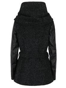 Černý žíhaný kabát s příměsí vlny a koženkovými rukávy ONLY New Lisford