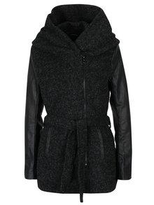 Čierny melírovaný kabát s prímesou vlny a koženkovými rukávmi ONLY New Lisford