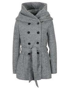 Šedý žíhaný kabát s příměsí vlny a zavazováním v pase ONLY Mary