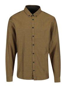 Hnedá pánska vzorovaná slim fit košeľa Casual Friday by Blend