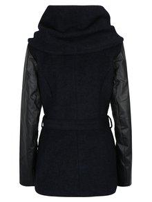 Tmavomodrý melírovaný kabát s prímesou vlny a koženkovými rukávmi ONLY New Lisford