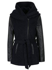 Tmavě modrý žíhaný kabát s příměsí vlny a koženkovými rukávy ONLY New Lisford