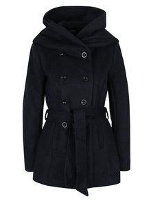 Tmavě modrý žíhaný kabát s příměsí vlny a zavazováním v pase ONLY Mary