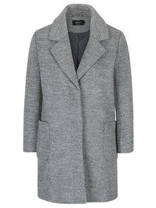 Šedý žíhaný kabát s příměsí vlny ONLY Mary