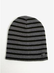 Caciula tricotata cu dungi gri cu negru Blend