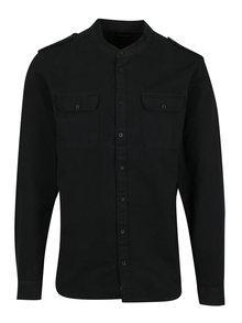 Čierna pánska košeľa bez golierika Casual Friday by Blend