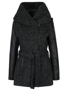 Tmavě šedý žíhaný kabát s příměsí vlny a koženkovými rukávy ONLY New Lisford