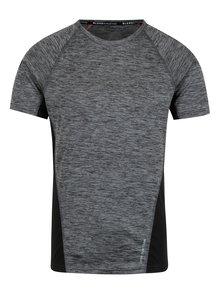 Černo-šedé žíhané muscle fit tričko s kapsou na zádech Blend