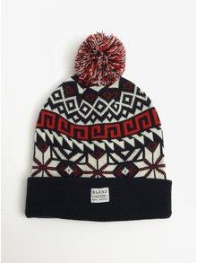 Caciula tricotata cu model geometric si ciucure Blend