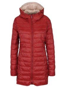 Červený prešívaný kabát s kapucňou ONLY Tahoe