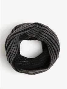 Fular tricotat negru cu gri Blend