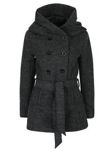 Tmavě šedý žíhaný vlněný kabát se zavazováním v pase ONLY Lisa
