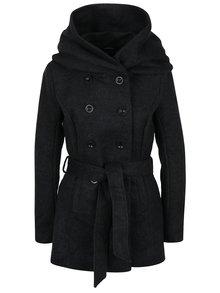 Čierny kabát s prímesou vlny a zaväzovaním v páse ONLY Mary
