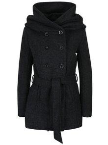 Čierny vlnený kabát so zaväzovaním v páse ONLY Lisa