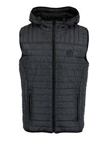 Tmavě šedá prošívaná vesta s kapucí Blend