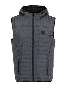 Šedá prošívaná vesta s kapucí Blend