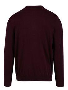 Pulover barbatesc bordo cu guler si nasturi - Burton Menswear London