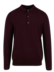 Pulover barbatesc bordo cu guler si nasturi - Burton Menswear London