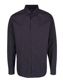 Modro-hnědá formální vzorovaná tailored fit košie Seidensticker