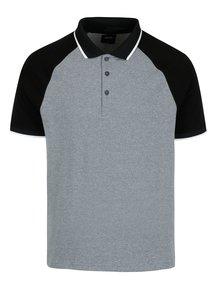 Černo-šedé žíhané polo tričko Burton Menswear London