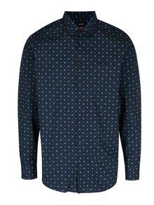 Tmavomodrá modern fit košeľa s kockovaným vzorom Seidensticker