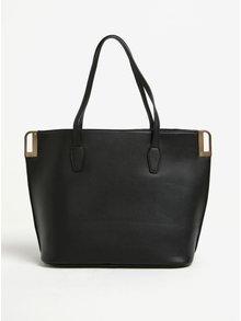 Černá prošívaná kabelka s detaily ve zlaté barvě Miss Selfridge