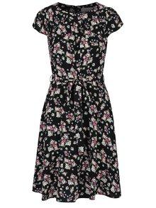 Čierne kvetované šaty so zaväzovaním v páse Billie & Blossom