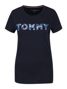 Tmavomodré dámske tričko s potlačou Tommy Hilfiger