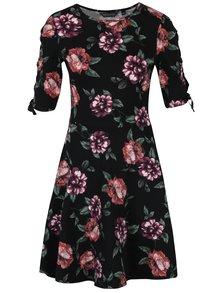 Čierne kvetované šaty so šnurovaním na rukávoch Dorothy Perkins