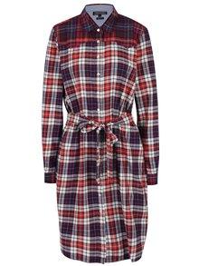 Krémovo-červené kostkované košilové šaty Tommy Hilfiger Janet