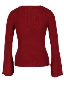 Červený rebrovaný sveter s detailmi na rukávoch Miss Selfridge