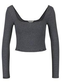Bluza crop cu maneci lungi si dungi alb & negru - Miss Selfridge