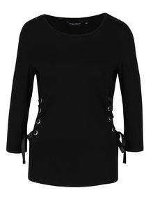Černé tričko se šněrováním na bocích Dorothy Perkins