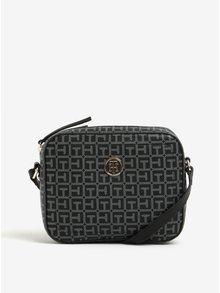 Šedo-černá dámská vzorovaná crossbody kabelka Tommy Hilfiger