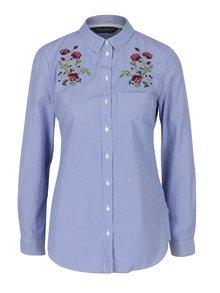 Modrá pruhovaná košile s výšivkami Dorothy Perkins