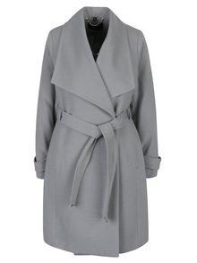 Šedý kabát se zavazováním v pase Dorothy Perkins