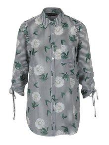 Černo-bílá dlouhá pruhovaná květovaná košile Dorothy Perkins