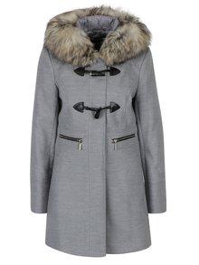 Sivý kabát s kapucňou a umelým kožúškom Miss Selfridge