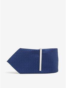 Modrá vzorovaná kravata se sponou Burton Menswear London