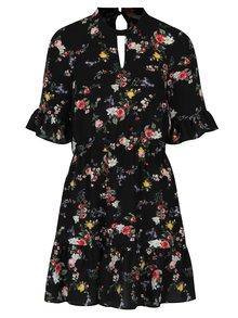 Čierne kvetinové šaty s volánmi Miss Selfridge Petites
