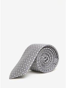 Bielo-sivá vzorovaná kravata Burton Menswear London