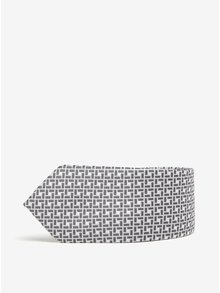 Cravata cu print discret alb & gri - Burton Menswear London